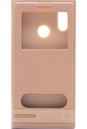 Case 4U Huawei P20 Lite Kılıf Gizli Mıknatıslı Pencereli Elite Kılıf - Altın