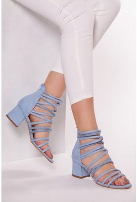 Tarçın Trc01-0148 Topuklu Ayakkabı Mavi Süet