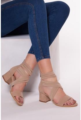 Tarçın Trc01-0147 Topuklu Ayakkabı Taş Süet