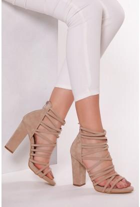 Tarçın Trc01-0011 Topuklu Ayakkabı Taş Süet