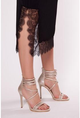 Tarçın Trc01-0051 Topuklu Ayakkabı Sarı Cam