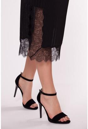 Tarçın Trc01-5005/1 Topuklu Ayakkabı Siyah Süet