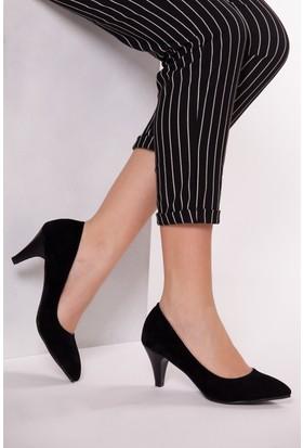 Tarçın Trc01-0139 Topuklu Ayakkabı Siyah Süet