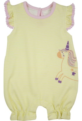 Baby Corner Fırfırlı Kısa Tulum Unicorn Sarı Ponponlu
