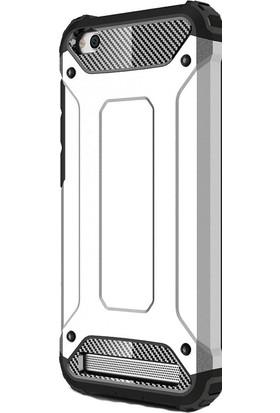 HappyShop Xiaomi Redmi 5A Kılıf Çift Katmanlı Armour Case + Cam Ekran Koruyucu - Gümüş