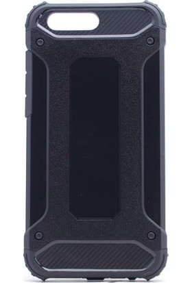 HappyShop Asus Zenfone 4 ZE554KL Kılıf Çift Katmanlı Armour Case + Cam Ekran Koruyucu - Siyah