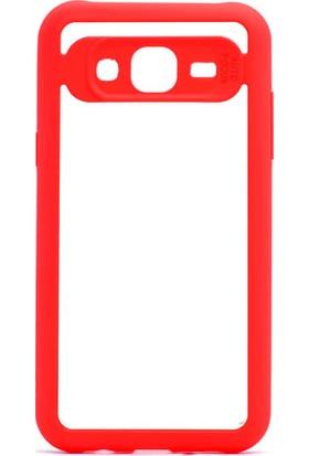 HappyShop Samsung Galaxy J7 Core Kılıf Silikon Kenarlı Button Kapak + Cam Ekran Koruyucu - Kırmızı