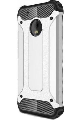 HappyShop Lenovo Moto E4 Kılıf Çift Katmanlı Armour Case + Cam Ekran Koruyucu - Gümüş