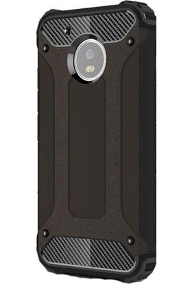 HappyShop Lenovo Moto G5S Plus Kılıf Çift Katmanlı Armour Case + Cam Ekran Koruyucu - Siyah