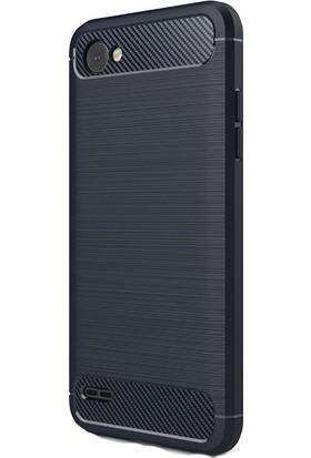 HappyShop LG Q6 Kılıf Ultra Korumalı Room Silikon + Cam Ekran Koruyucu - Lacivert