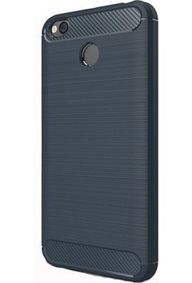 HappyShop Xiaomi Redmi 4X Kılıf Ultra Korumalı Room Silikon + Cam Ekran Koruyucu - Lacivert