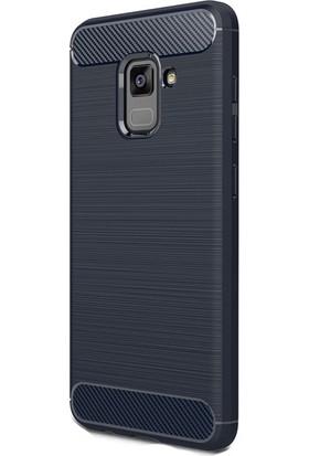 HappyShop Samsung Galaxy A5 2018 Kılıf Ultra Korumalı Room Silikon + Cam Ekran Koruyucu - Lacivert