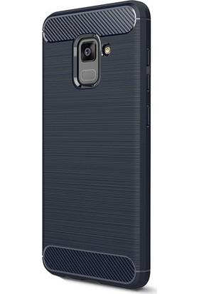 HappyShop Samsung Galaxy A8 Plus 2018 Kılıf Ultra Korumalı Room Silikon + Nano Cam Ekran Koruyucu - Lacivert