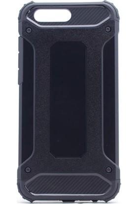 HappyShop Asus Zenfone 4 ZE554KL Kılıf Çift Katmanlı Armour Case + Nano Cam Ekran Koruyucu - Siyah