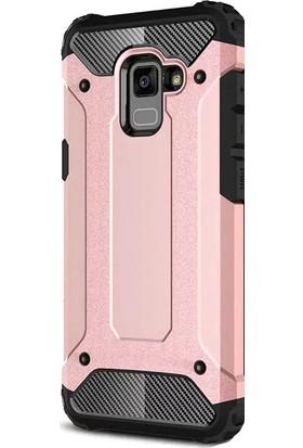 HappyShop Samsung Galaxy A7 2018 Kılıf Çift Katmanlı Armour Case + Nano Cam Ekran Koruyucu - Rose Gold