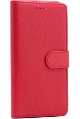 HappyShop Samsung Galaxy J3 Pro J330 Cüzdanlı Kapaklı Suni Deri Kılıf + Cam Ekran Koruyucu - Kırmızı