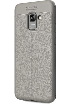 HappyShop Samsung Galaxy A8 Plus 2018 Kılıf Deri Desenli Lux Niss Silikon + Cam Ekran Koruyucu - Gri