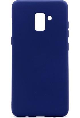 HappyShop Samsung Galaxy A8 Plus 2018 Kılıf Ultra İnce Mat Silikon + Cam Ekran Koruyucu - Lacivert