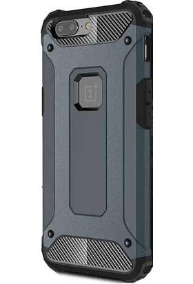 HappyShop One Plus 5T Kılıf Çift Katmanlı Armour Case + Cam Ekran Koruyucu - Lacivert