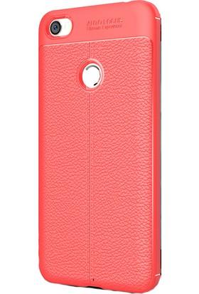 HappyShop Xiaomi Redmi Note 5A Kılıf Deri Desenli Lux Niss Silikon + Cam Ekran Koruyucu - Kırmızı