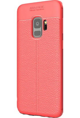 HappyShop Samsung Galaxy A8 2018 Kılıf Deridesenli Lux Niss Silikon + Cam Ekran Koruyucu - Kırmızı