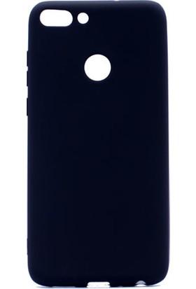HappyShop Huawei P-Smart Kılıf Ultra İnce Mat Silikon + Cam Ekran Koruyucu - Siyah
