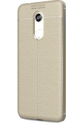 HappyShop Xiaomi Redmi 5 Plus Kılıf Deri Desenli Lux Niss Silikon + Cam Ekran Koruyucu - Gri