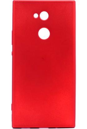 HappyShop Sony Xperia L2 Kılıf Ultra İnce Mat Silikon + Cam Ekran Koruyucu - Kırmızı