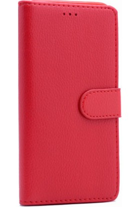 HappyShop Samsung Galaxy J5 Pro J530 Cüzdanlı Kapaklı Suni Deri Kılıf + Nano Cam Ekran Koruyucu - Kırmızı