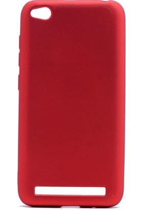 HappyShop Xiaomi Redmi 5A Kılıf Ultra İnce Mat Silikon + Nano Cam Ekran Koruyucu - Kırmızı