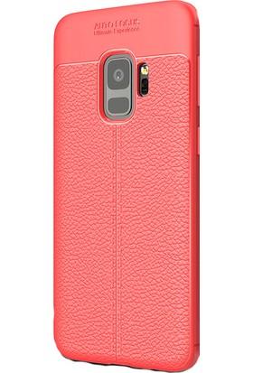 HappyShop Samsung Galaxy A8 2018 Kılıf Deridesenli Lux Niss Silikon + Nano Cam Ekran Koruyucu - Kırmızı