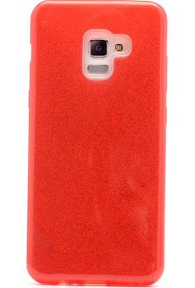 HappyShop Samsung Galaxy A8 Plus 2018 Kılıf Simli Shining Silikon + Nano Cam Ekran Koruyucu - Kırmızı