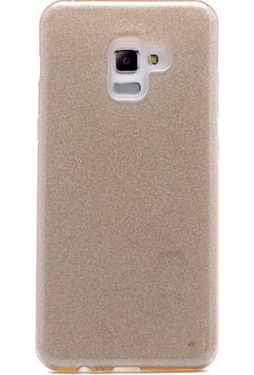 HappyShop Samsung Galaxy A8 Plus 2018 Kılıf Simli Shining Silikon + Nano Cam Ekran Koruyucu - Gold