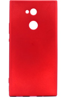 HappyShop Sony Xperia L2 Kılıf Ultra İnce Mat Silikon + Nano Cam Ekran Koruyucu - Kırmızı