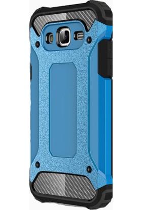 HappyShop Samsung Galaxy J7 Core Kılıf Çift Katmanlı Armour Case + Cam Ekran Koruyucu - Mavi