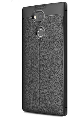 HappyShop Sony Xperia L2 Kılıf Deri Desenli Lux Niss Silikon + Cam Ekran Koruyucu - Siyah