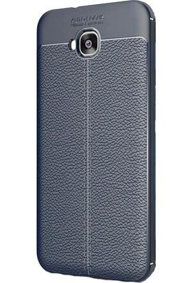 HappyShop Asus Zenfone 4 Selfie ZD553KL Kılıf Deri Desenli Lux Niss Silikon + Nano Cam - Lacivert