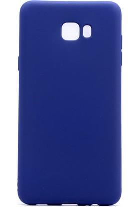 HappyShop Samsung Galaxy C9 Pro Kılıf Ultra İnce Mat Silikon + Cam Ekran Koruyucu - Lacivert