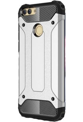 HappyShop Huawei P Smart Kılıf Çift Katmanlı Armour Case + Cam Ekran Koruyucu - Gümüş