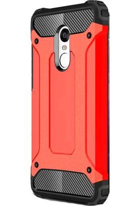 HappyShop Xiaomi Redmi 5 Plus Kılıf Çift Katmanlı Armour Case + Cam Ekran Koruyucu - Kırmızı
