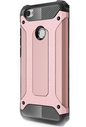 HappyShop Xiaomi Redmi Note 5A Prime Kılıf Çift Katmanlı Armour Case + Nano Cam Ekran Koruyucu - Rose Gold