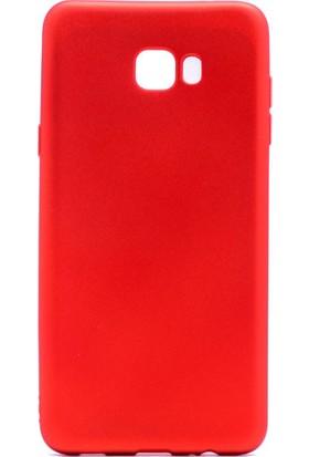 HappyShop Samsung Galaxy C9 Pro Kılıf Ultra İnce Mat Silikon + Nano Cam Ekran Koruyucu - Kırmızı