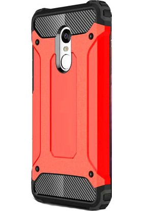 HappyShop Xiaomi Redmi 5 Plus Kılıf Çift Katmanlı Armour Case + Nano Cam Ekran Koruyucu - Kırmızı