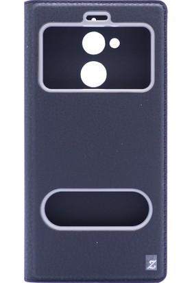 HappyShop General Mobile GM 8 Kılıf Gizli Mıknatıslı İnce Pencereli + Cam Koruma - Siyah