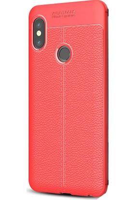 HappyShop Xiaomi Redmi Note 5 Pro Kılıf Deri Desenli Lux Niss Silikon + Cam Koruma - Kırmızı