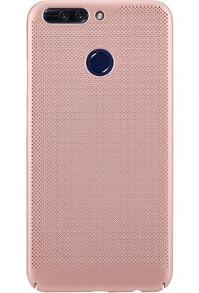 HappyShop Huawei P Smart Kılıf Delikli İnce Sert Arka Kapak + Cam Koruma - Gold