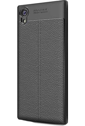 HappyShop Sony Xperia XA1 Plus Kılıf Deri Desenli Lux Niss Silikon + Cam Koruma - Siyah