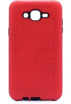 HappyShop Samsung Galaxy J7 Core Kılıf Ultra Korumalı New Youyou Silikon + Nano Cam Koruma - Kırmızı