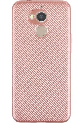 HappyShop General Mobile GM 8 Kılıf Karbon Desenli Silikon + Cam Ekran Koruyucu - Rose Gold