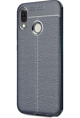 HappyShop Huawei P20 Lite Kılıf Deri Desenli Lux Niss Silikon + Cam Ekran Koruyucu - Lacivert